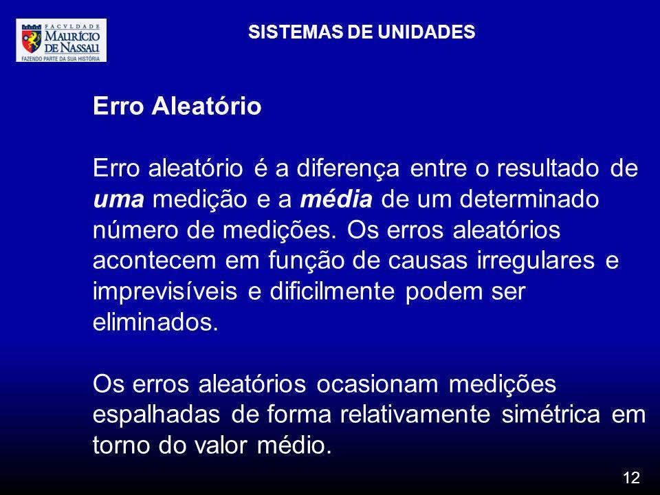 SISTEMAS DE UNIDADES Erro Aleatório.