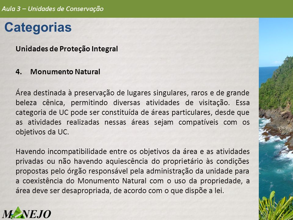 Categorias Unidades de Proteção Integral Monumento Natural