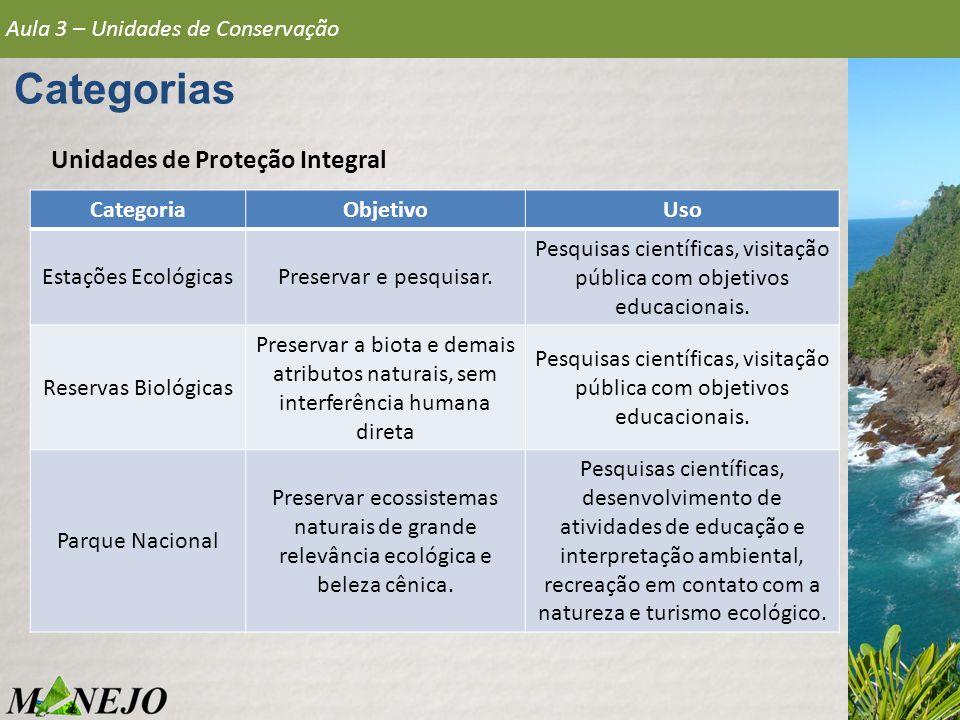 Pesquisas científicas, visitação pública com objetivos educacionais.