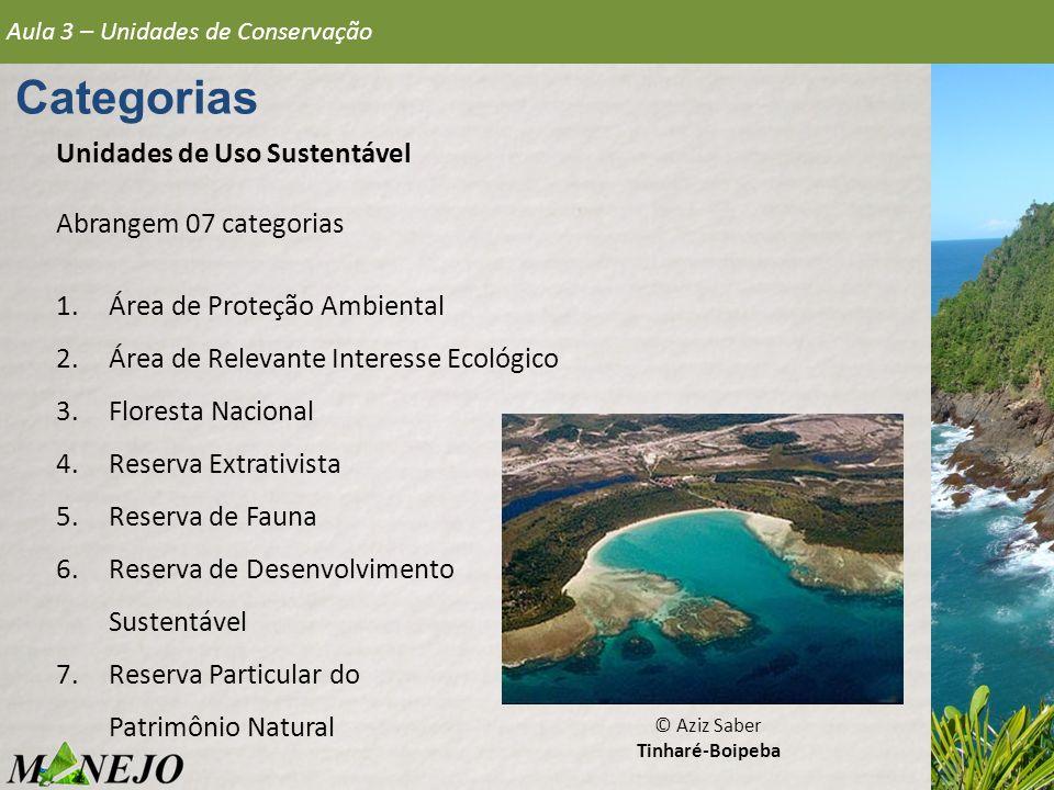 Categorias Unidades de Uso Sustentável Abrangem 07 categorias