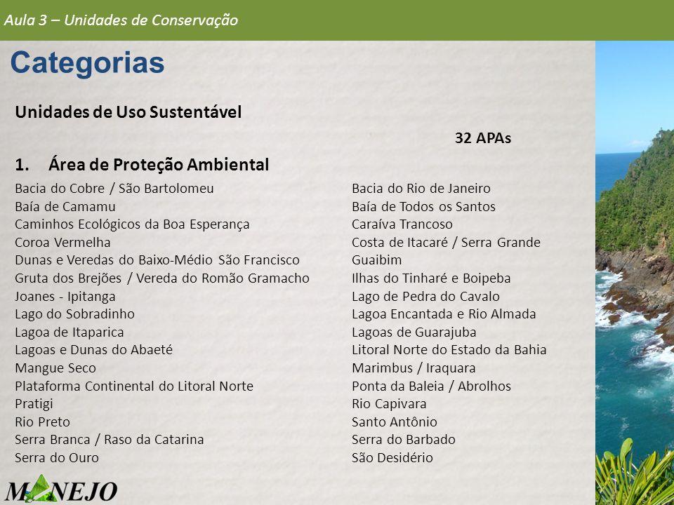 Categorias Unidades de Uso Sustentável Área de Proteção Ambiental