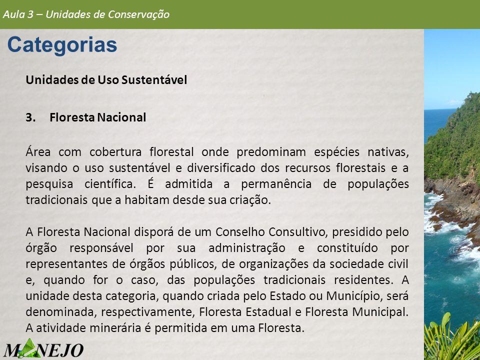 Categorias Unidades de Uso Sustentável Floresta Nacional