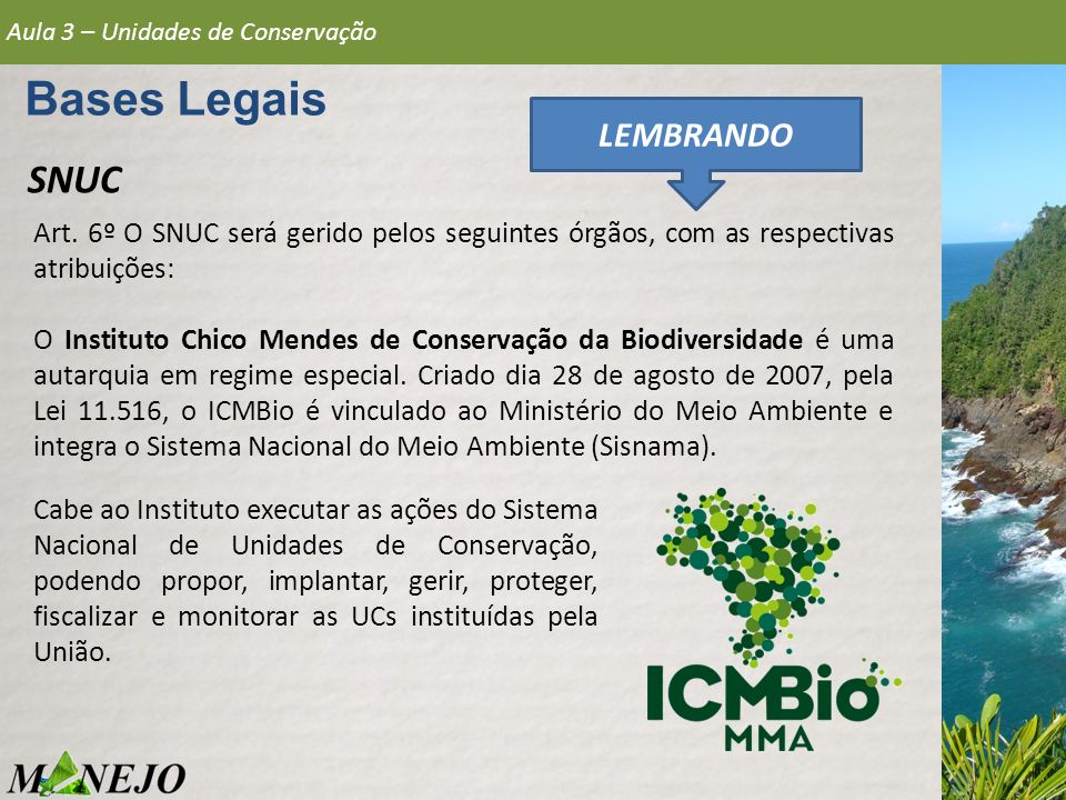 Bases Legais SNUC LEMBRANDO