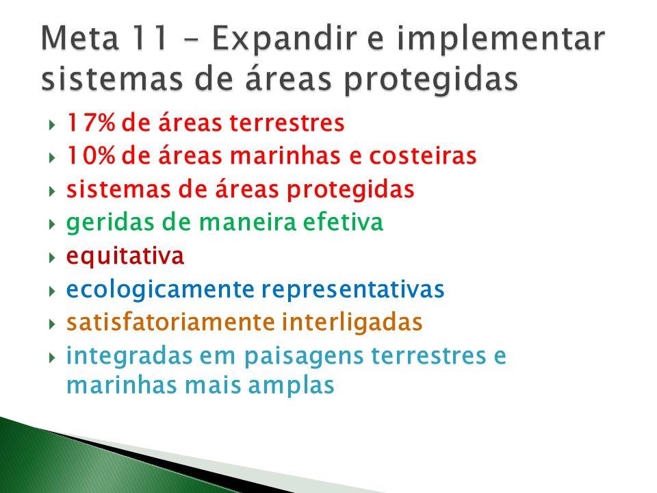 Meta 11 – Expandir e implementar sistemas de áreas protegidas