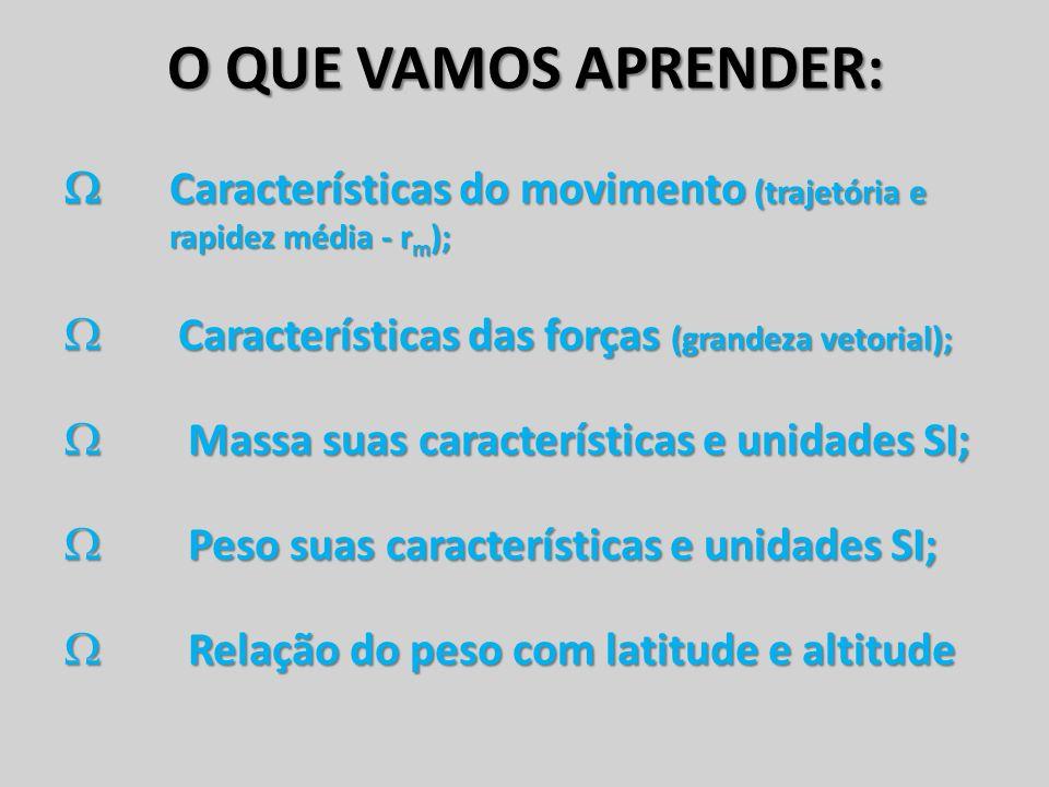 O QUE VAMOS APRENDER:  Características do movimento (trajetória e rapidez média - rm); Características das forças (grandeza vetorial);