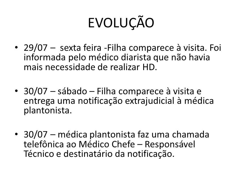 EVOLUÇÃO 29/07 – sexta feira -Filha comparece à visita. Foi informada pelo médico diarista que não havia mais necessidade de realizar HD.