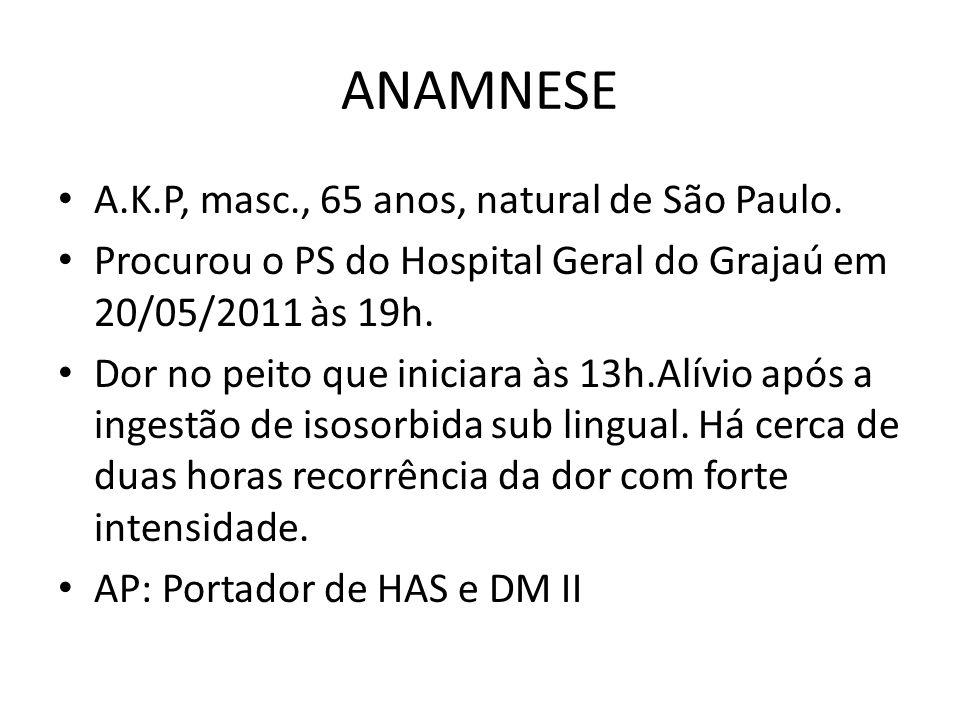ANAMNESE A.K.P, masc., 65 anos, natural de São Paulo.