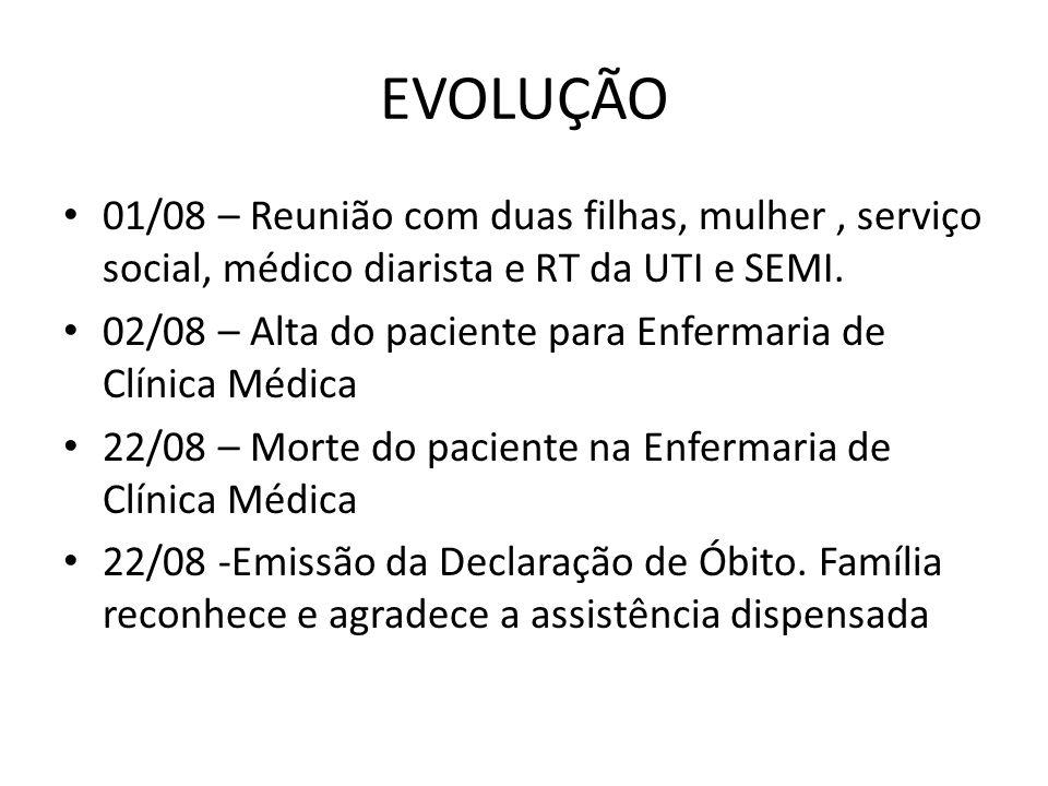 EVOLUÇÃO 01/08 – Reunião com duas filhas, mulher , serviço social, médico diarista e RT da UTI e SEMI.