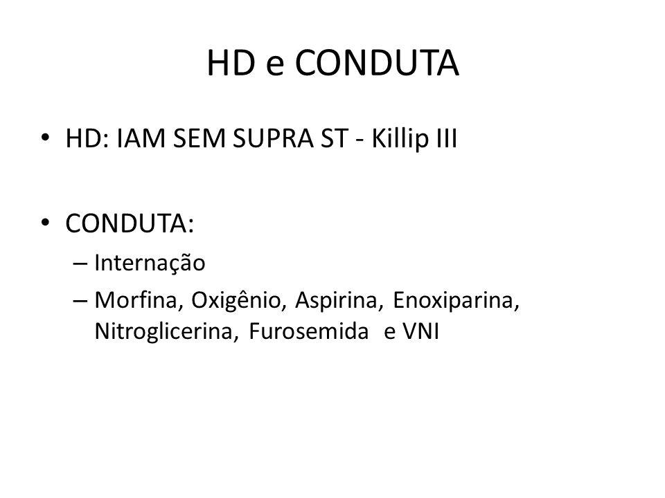 HD e CONDUTA HD: IAM SEM SUPRA ST - Killip III CONDUTA: Internação