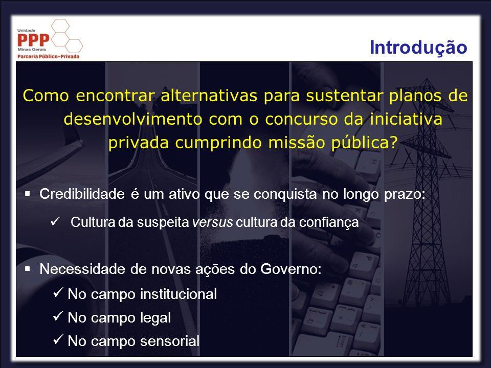 Introdução Como encontrar alternativas para sustentar planos de desenvolvimento com o concurso da iniciativa privada cumprindo missão pública
