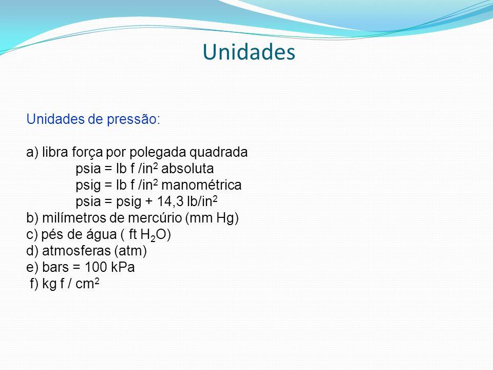 Unidades Unidades de pressão: a) libra força por polegada quadrada