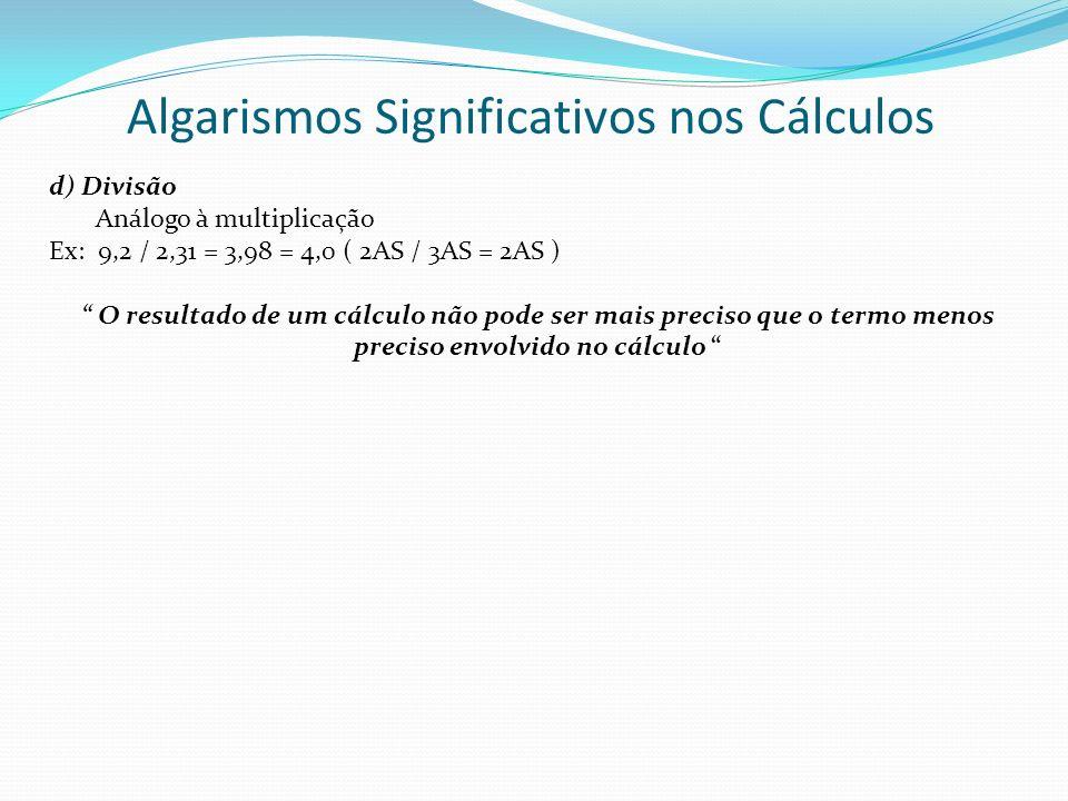 Algarismos Significativos nos Cálculos