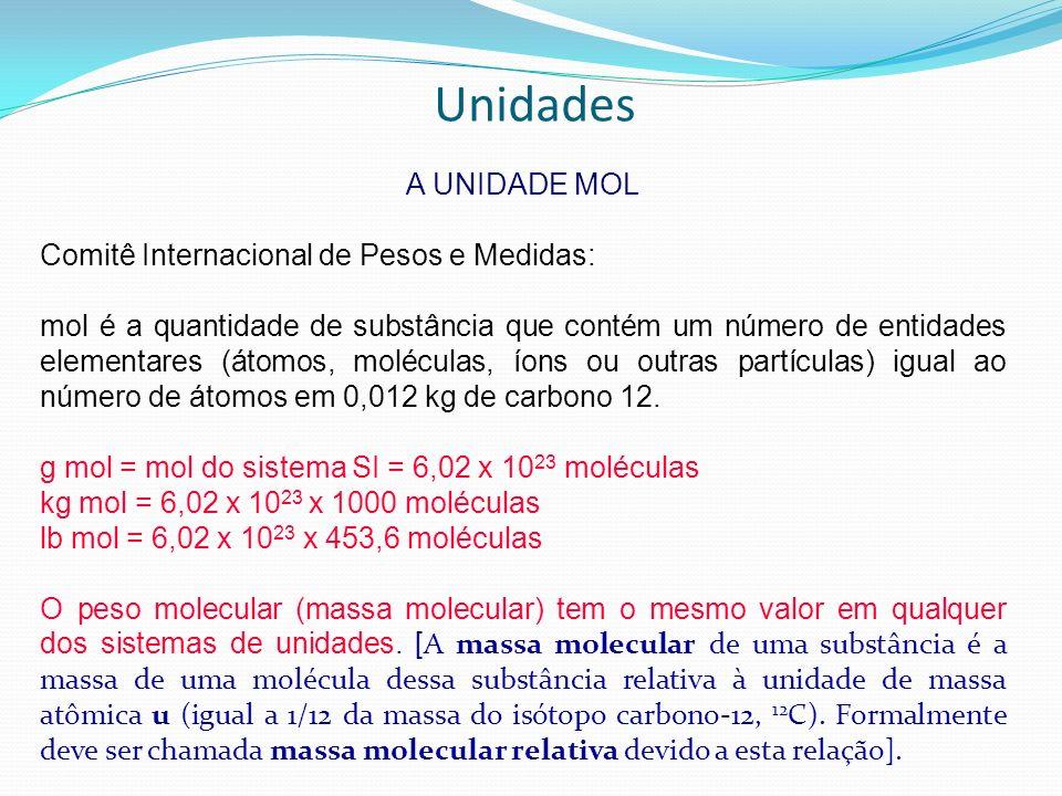 Unidades A UNIDADE MOL Comitê Internacional de Pesos e Medidas: