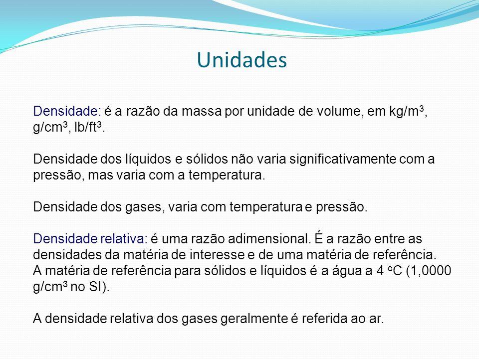 Unidades Densidade: é a razão da massa por unidade de volume, em kg/m3, g/cm3, lb/ft3.