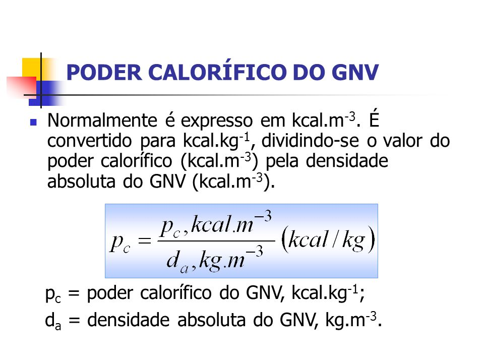 PODER CALORÍFICO DO GNV