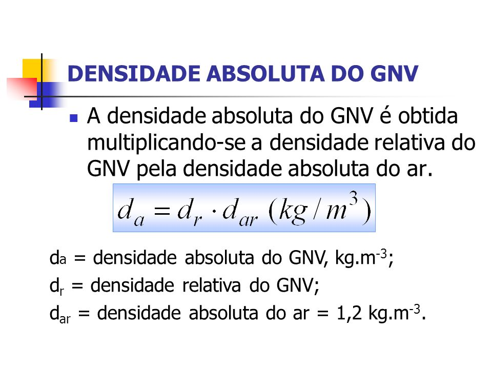 DENSIDADE ABSOLUTA DO GNV