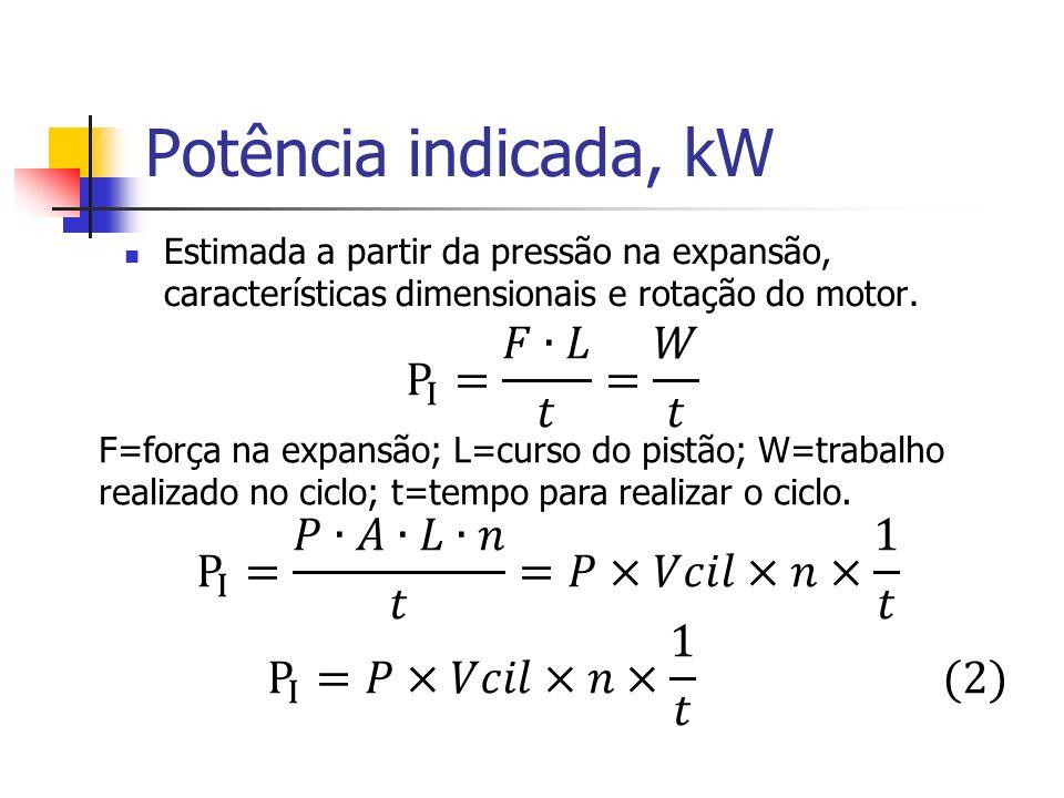 Potência indicada, kW P I = 𝐹∙𝐿 𝑡 = 𝑊 𝑡 P I = 𝑃∙𝐴∙𝐿∙𝑛 𝑡 =𝑃×𝑉𝑐𝑖𝑙×𝑛× 1 𝑡