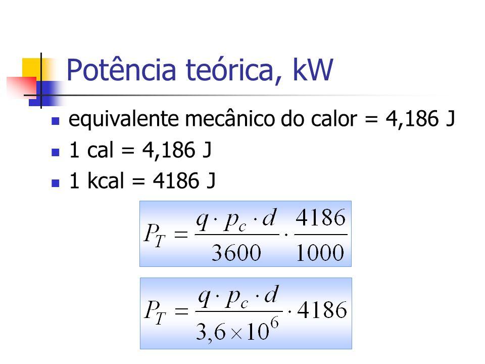 Potência teórica, kW equivalente mecânico do calor = 4,186 J