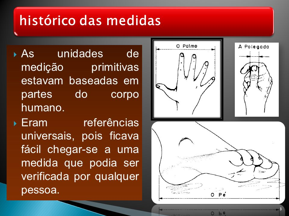 histórico das medidas As unidades de medição primitivas estavam baseadas em partes do corpo humano.
