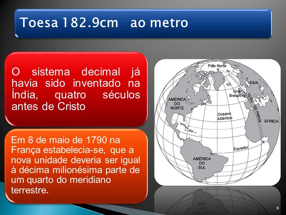 Toesa 182.9cm ao metro O sistema decimal já havia sido inventado na Índia, quatro séculos antes de Cristo.