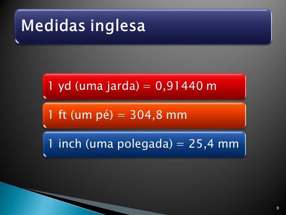 Medidas inglesa 1 yd (uma jarda) = 0,91440 m. 1 ft (um pé) = 304,8 mm.
