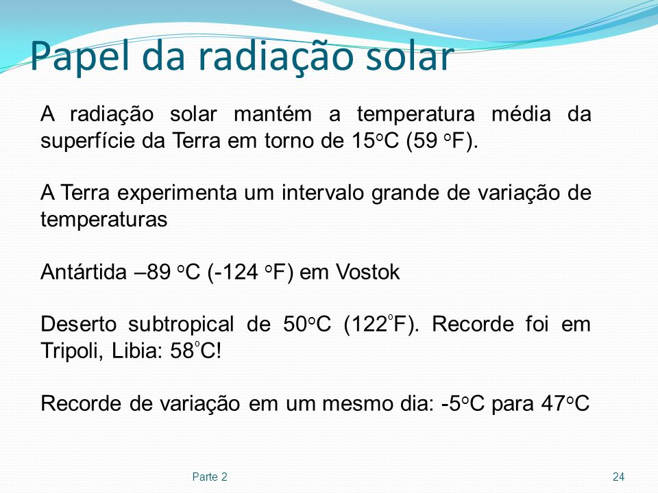 Papel da radiação solar
