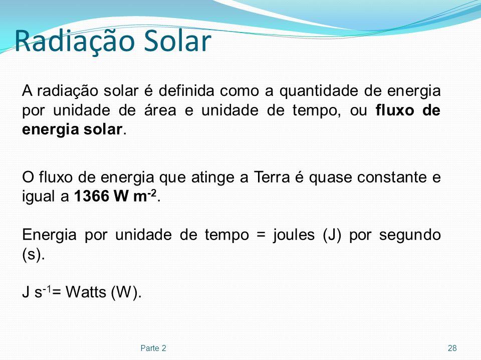Radiação Solar A radiação solar é definida como a quantidade de energia por unidade de área e unidade de tempo, ou fluxo de energia solar.
