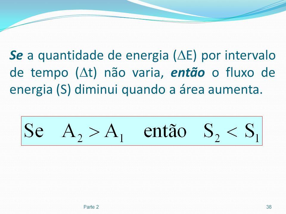Se a quantidade de energia (E) por intervalo de tempo (t) não varia, então o fluxo de energia (S) diminui quando a área aumenta.