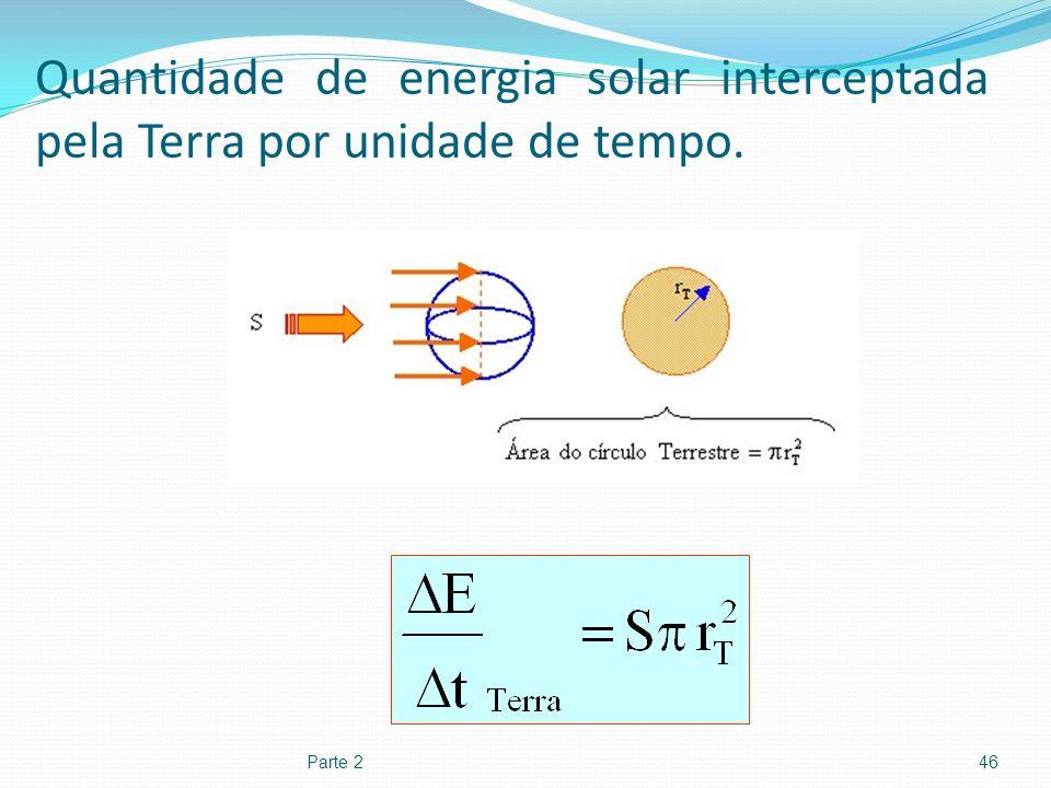 Quantidade de energia solar interceptada pela Terra por unidade de tempo.