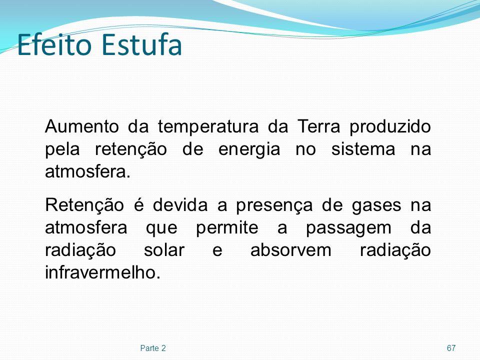 Efeito Estufa Aumento da temperatura da Terra produzido pela retenção de energia no sistema na atmosfera.