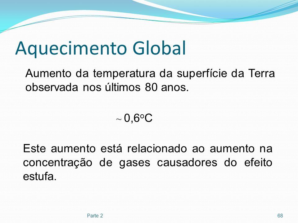 Aquecimento Global Aumento da temperatura da superfície da Terra observada nos últimos 80 anos. ~ 0,6oC.