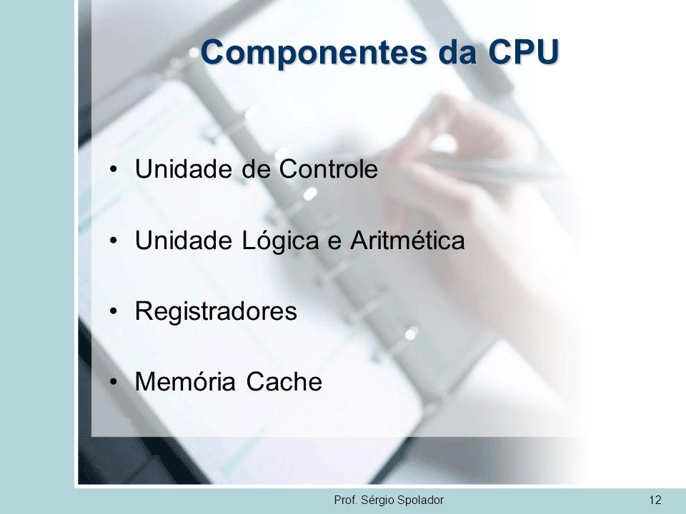 Componentes da CPU Unidade de Controle Unidade Lógica e Aritmética