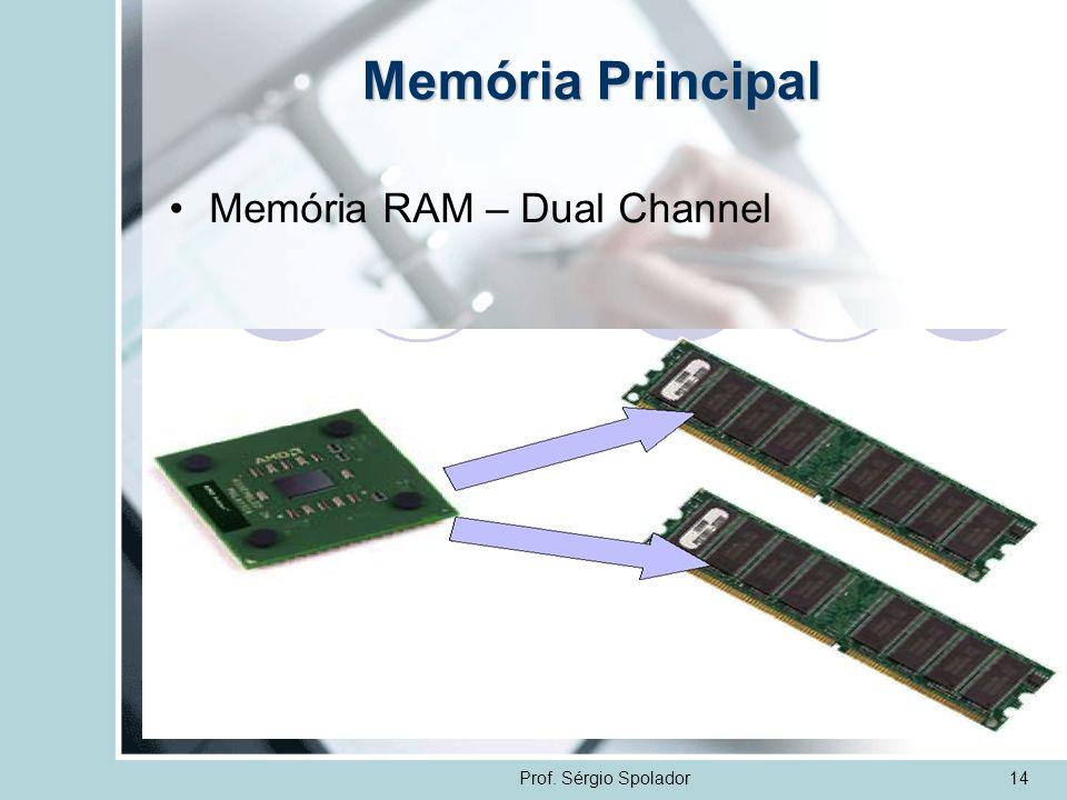 Memória Principal Memória RAM – Dual Channel Prof. Sérgio Spolador 14