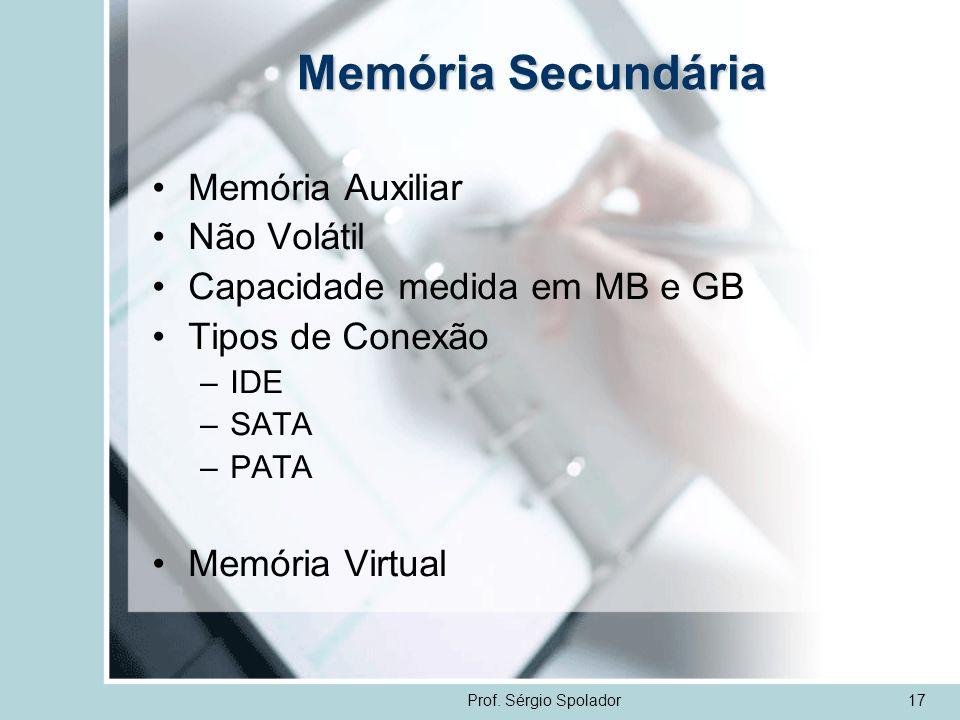 Memória Secundária Memória Auxiliar Não Volátil