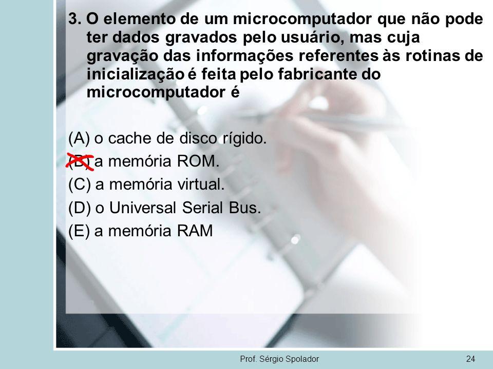 (A) o cache de disco rígido. (B) a memória ROM. (C) a memória virtual.