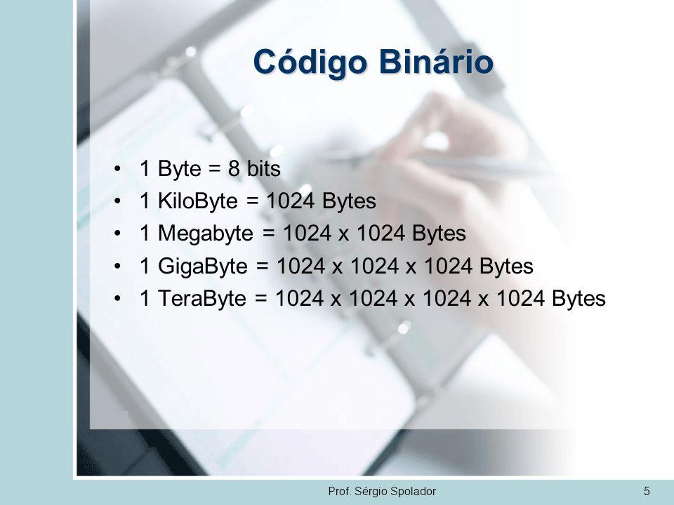 Código Binário 1 Byte = 8 bits 1 KiloByte = 1024 Bytes