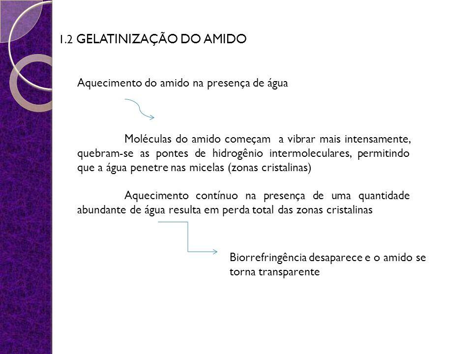 1.2 GELATINIZAÇÃO DO AMIDO