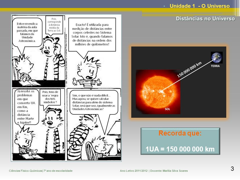 Recorda que: 1UA = 150 000 000 km Unidade 1 - O Universo