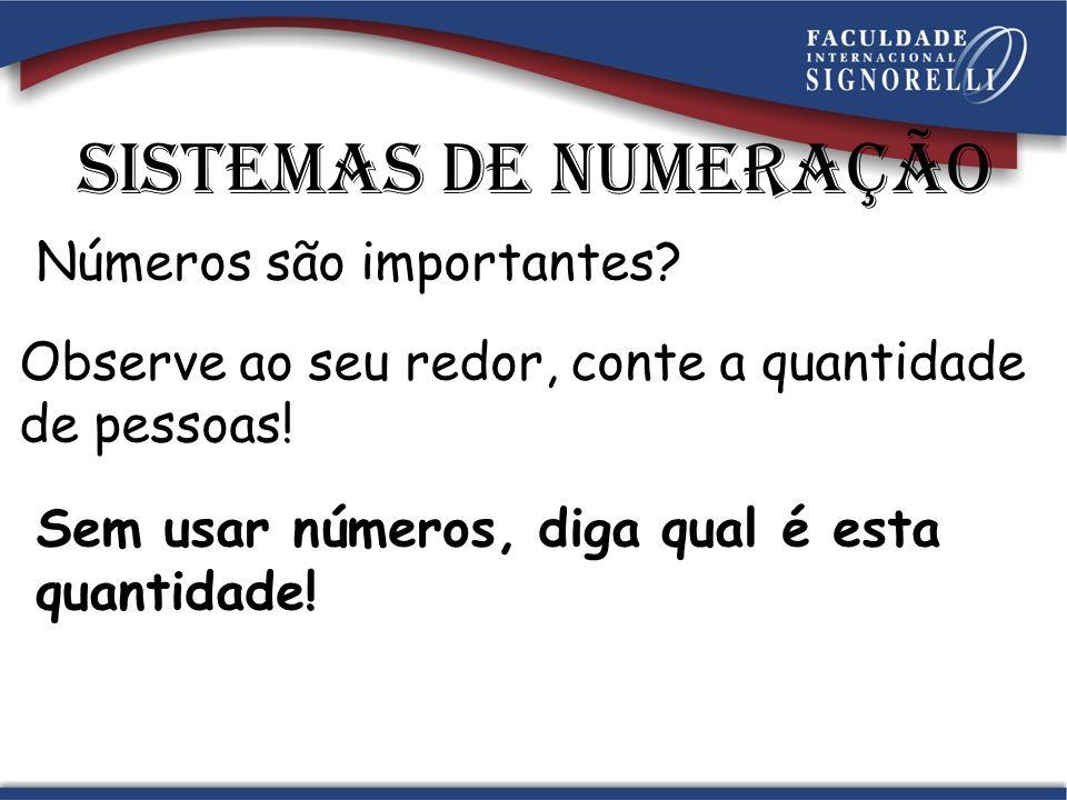 Sistemas de numeração Números são importantes