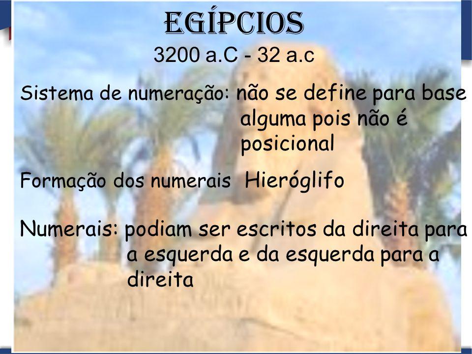 Egípcios 3200 a.C - 32 a.c alguma pois não é posicional