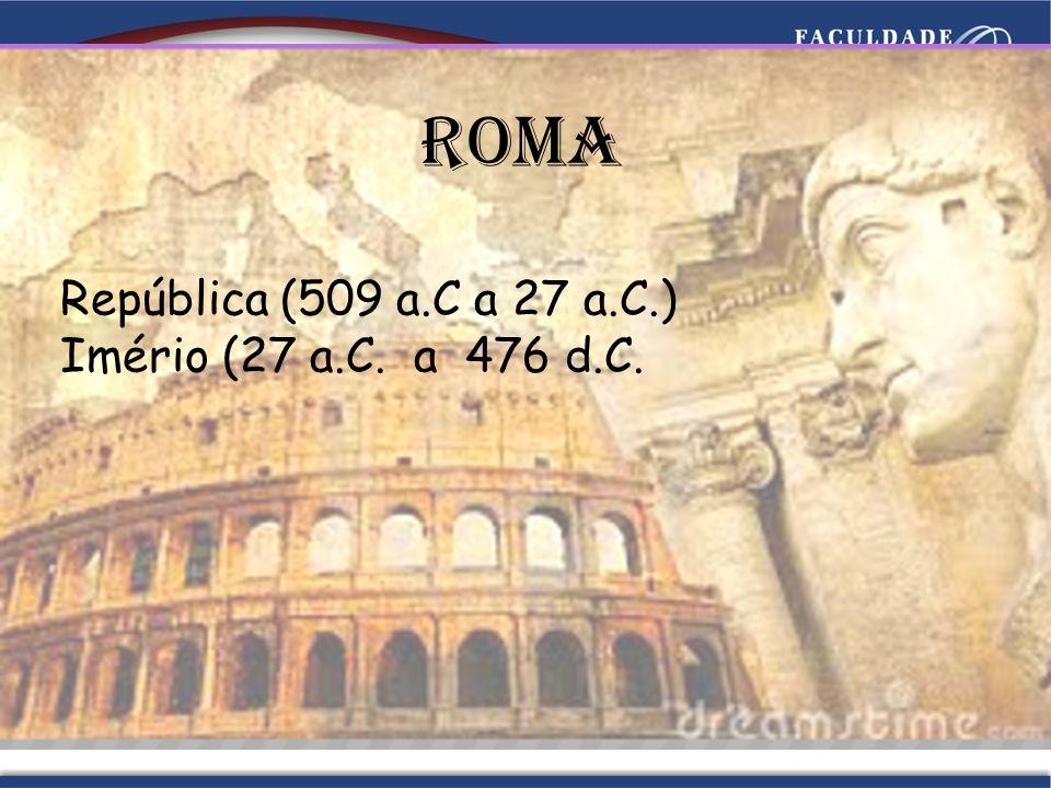 Roma República (509 a.C a 27 a.C.) Imério (27 a.C. a 476 d.C.