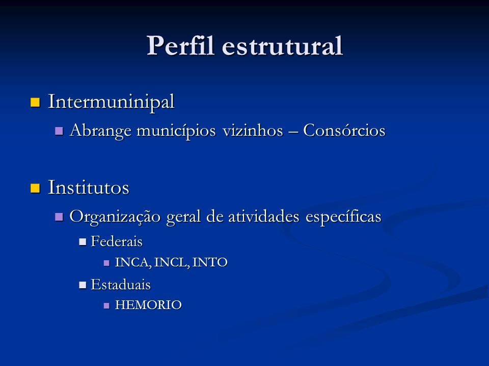Perfil estrutural Intermuninipal Institutos