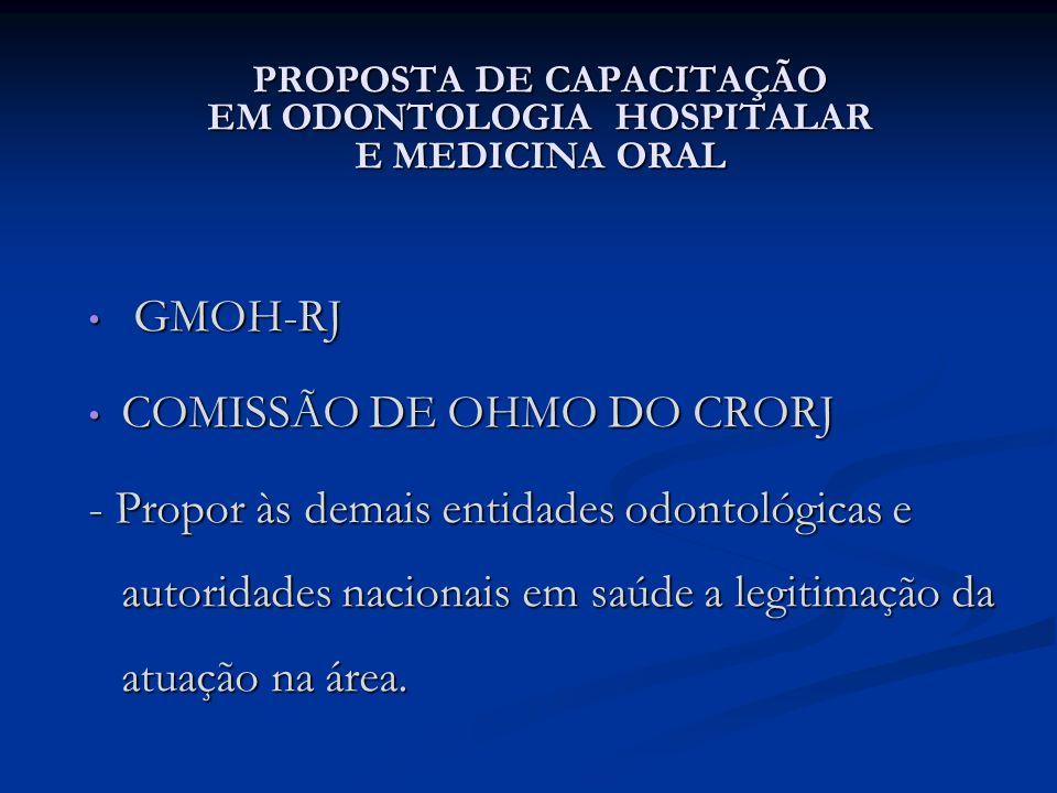 PROPOSTA DE CAPACITAÇÃO EM ODONTOLOGIA HOSPITALAR