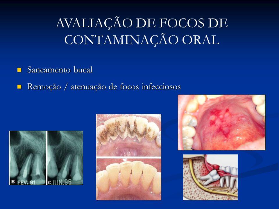 AVALIAÇÃO DE FOCOS DE CONTAMINAÇÃO ORAL Saneamento bucal