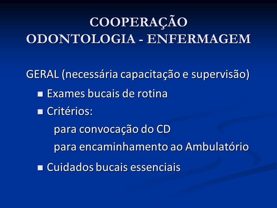 COOPERAÇÃO ODONTOLOGIA - ENFERMAGEM