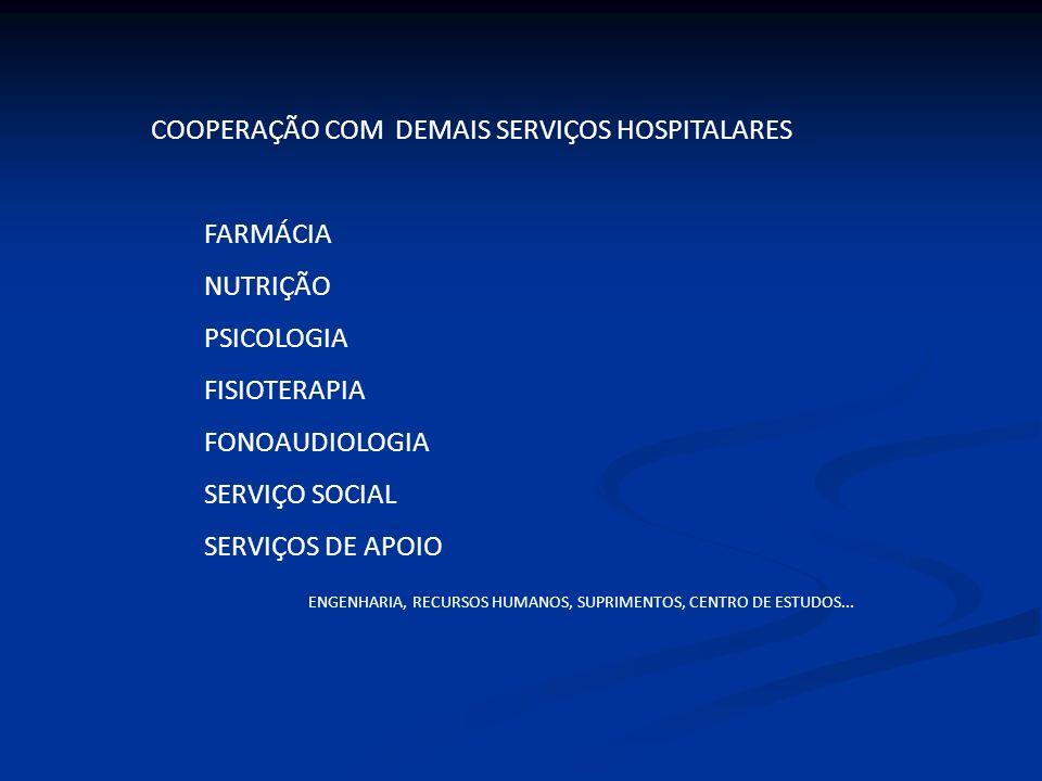 COOPERAÇÃO COM DEMAIS SERVIÇOS HOSPITALARES