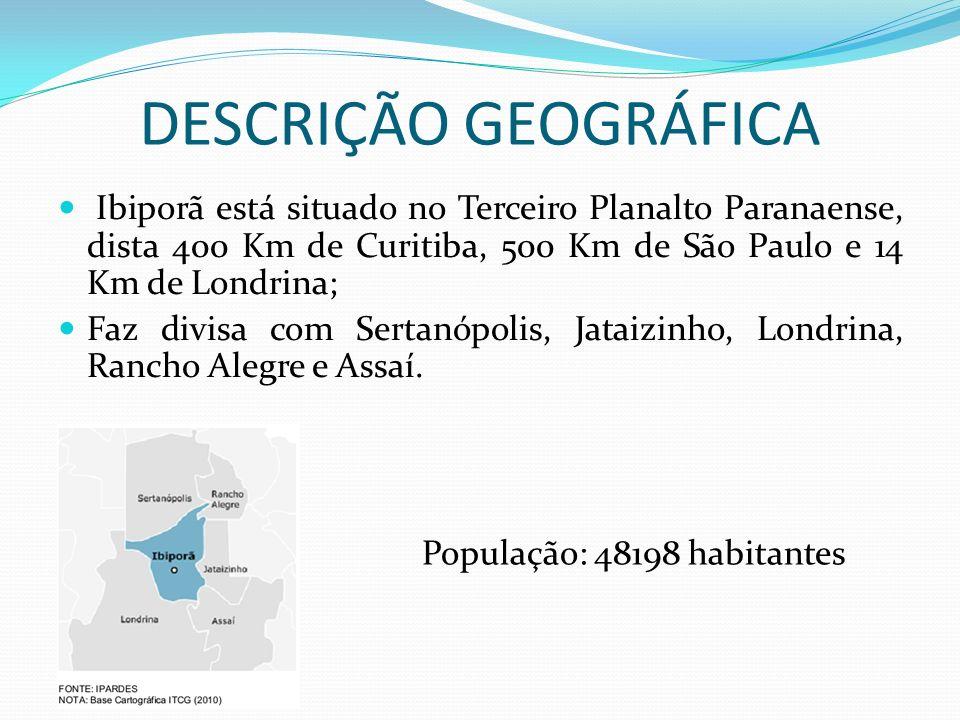 DESCRIÇÃO GEOGRÁFICA Ibiporã está situado no Terceiro Planalto Paranaense, dista 400 Km de Curitiba, 500 Km de São Paulo e 14 Km de Londrina;