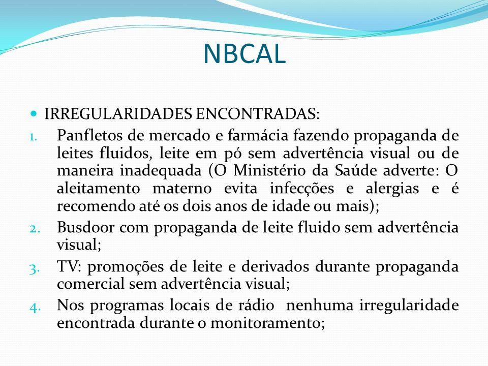 NBCAL IRREGULARIDADES ENCONTRADAS:
