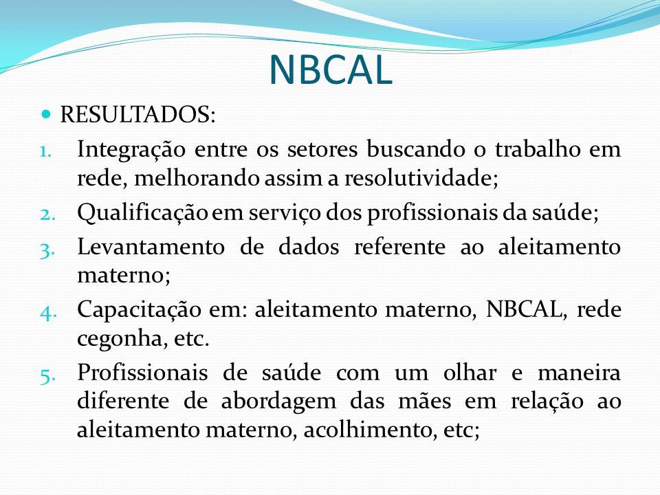 NBCAL RESULTADOS: Integração entre os setores buscando o trabalho em rede, melhorando assim a resolutividade;