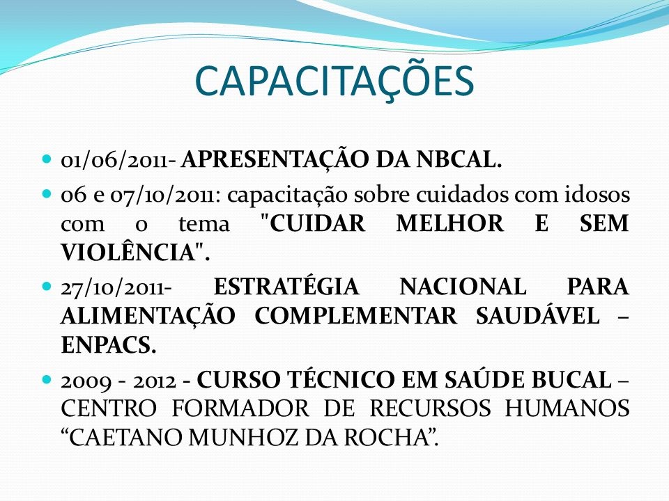 CAPACITAÇÕES 01/06/2011- APRESENTAÇÃO DA NBCAL.